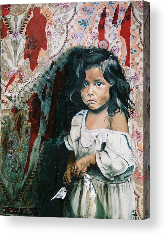 Asian Girl Acrylic Print featuring the painting What Is My Worth by Teresa Carter