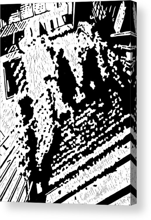 Black Acrylic Print featuring the painting Which Way Up -- Hand-pulled Linoleum Cut by Lynn Evenson