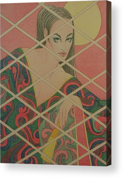 Female Acrylic Print featuring the painting Woman and the Moon by Gary Kaemmer