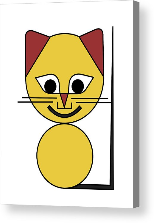 Cat Acrylic Print featuring the digital art Yellow Cat by Asbjorn Lonvig