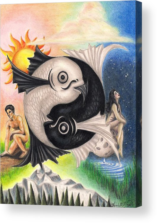 Yin-yang Acrylic Print featuring the drawing Yin-Yang by Scarlett Royal