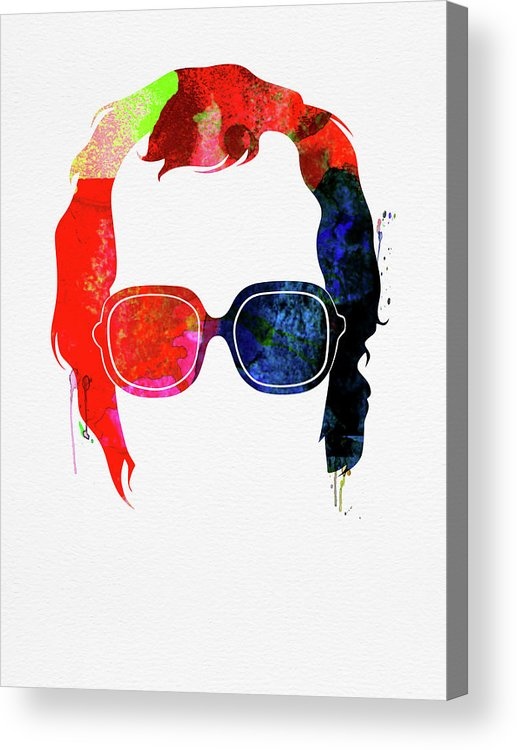 Elton John Acrylic Print featuring the mixed media Elton Watercolor by Naxart Studio