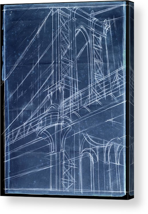 Architecture Acrylic Print featuring the painting Bridge Blueprint I by Ethan Harper