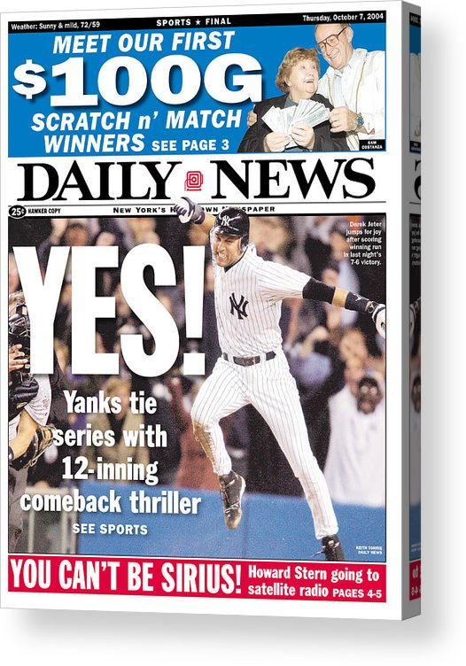 American League Baseball Acrylic Print featuring the photograph Daily News Front Page Derek Jeter by New York Daily News