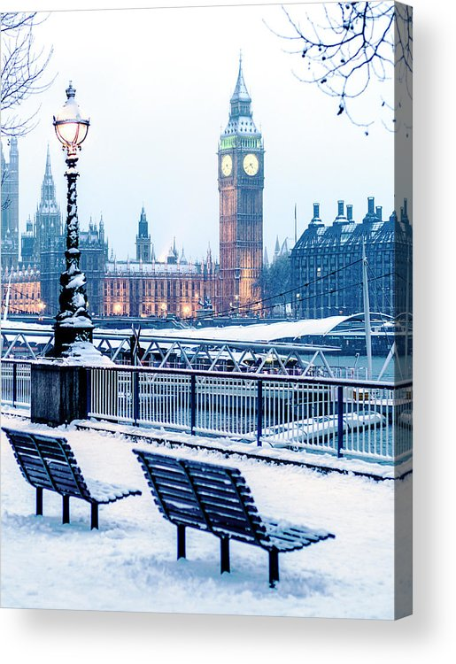 Clock Tower Acrylic Print featuring the photograph Houses Of Parliament In The Snow by Doug Armand