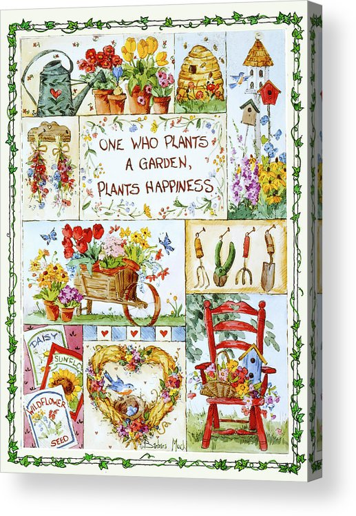 Friends Are Flowers In Life's Garden Acrylic Print featuring the painting 3200 Friends Are Flowers In Life's Garden by Barbara Mock