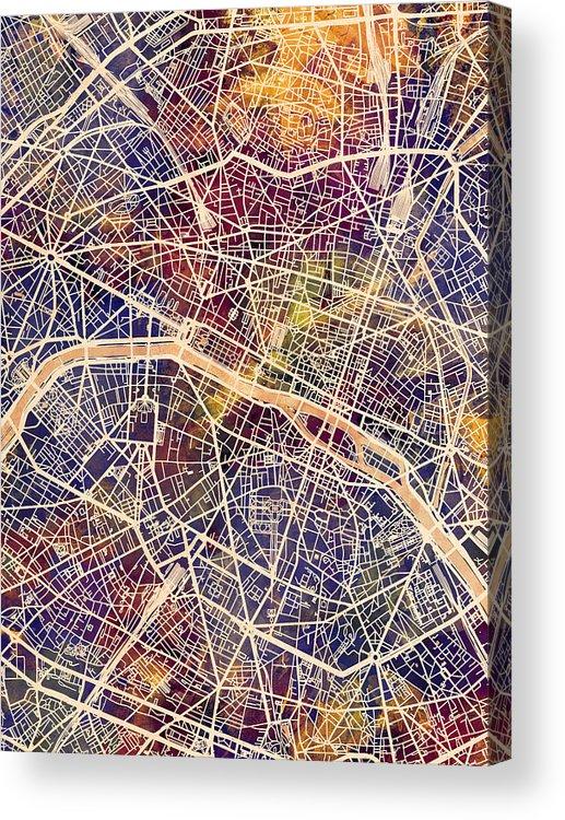 Paris Acrylic Print featuring the digital art Paris France City Map by Michael Tompsett