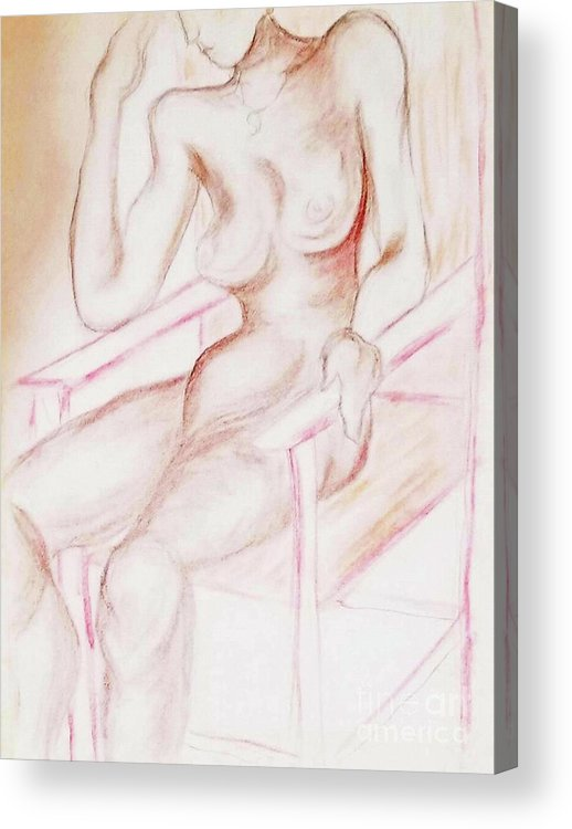Woman Female Nude Nude Drawing Human Form Acrylic Print featuring the mixed media Academy Art 17 by Tammera Malicki-Wong