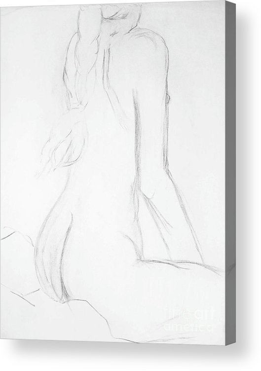 Woman Female Nude Nude Drawing Gesture Drawing Human Form Charcoal Drawing Acrylic Print featuring the mixed media Academy Art 245 by Tammera Malicki-Wong
