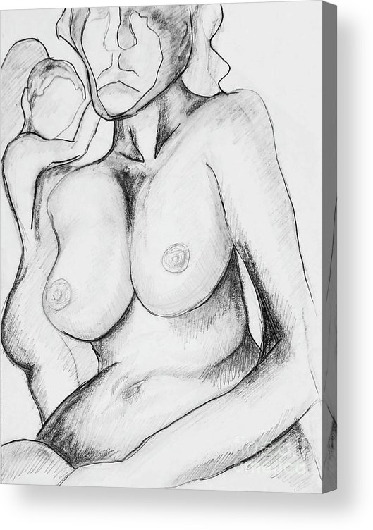 Nudes Nude Drawing Females Women Charcoal Drawing Human Form Figure Drawing Acrylic Print featuring the mixed media Academy Art 298 by Tammera Malicki-Wong