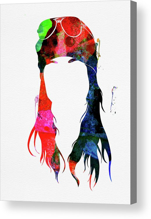 Axl Rose Acrylic Print featuring the mixed media Axl Rose Watercolor by Naxart Studio