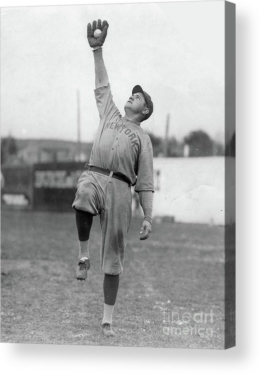 People Acrylic Print featuring the photograph Babe Ruth Catches Fly Ball by Transcendental Graphics