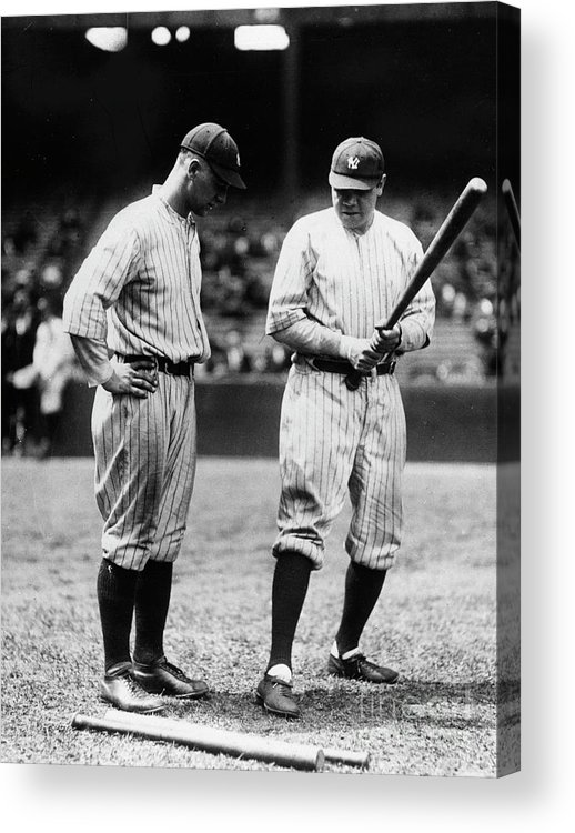 American League Baseball Acrylic Print featuring the photograph Babe Ruth Lou Gehrig 1923 by Transcendental Graphics