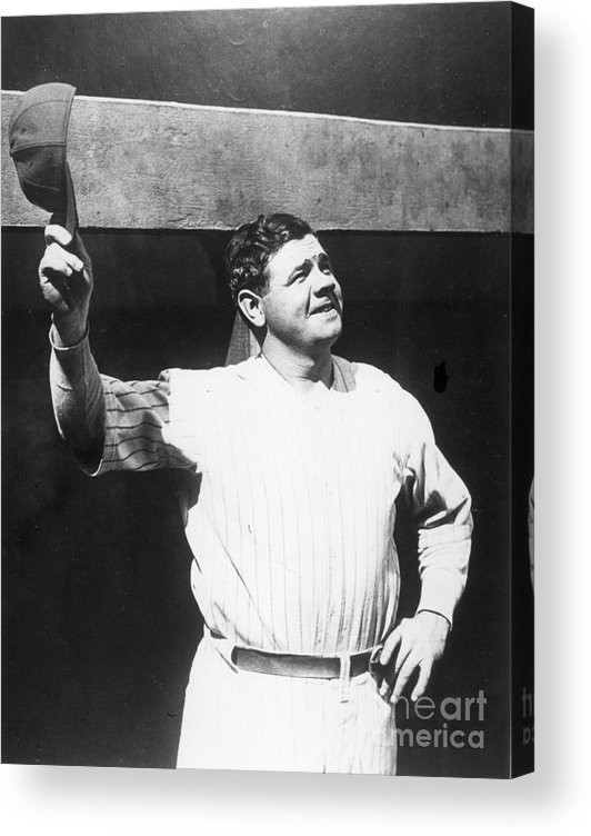 People Acrylic Print featuring the photograph Babe Ruth Salutes The Crowd by Transcendental Graphics