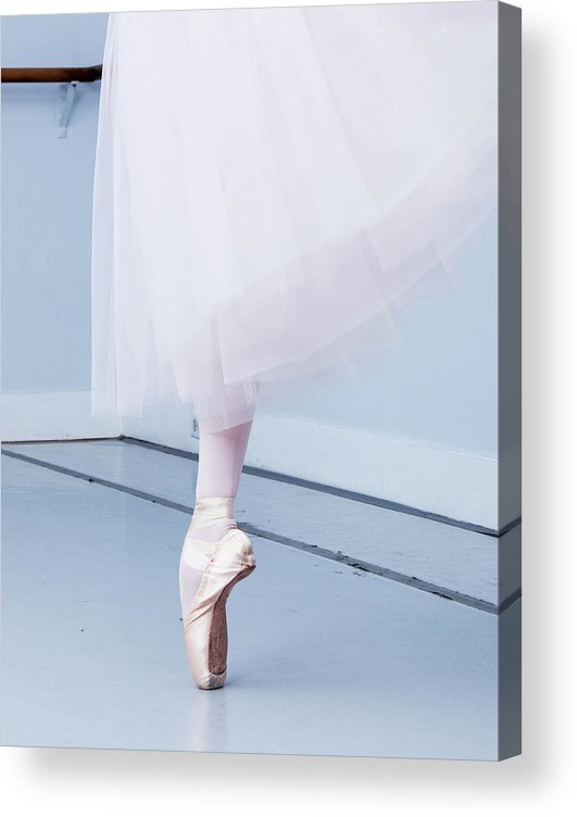 Expertise Acrylic Print featuring the photograph Ballerina On Pointe Low Angle View by Jonya