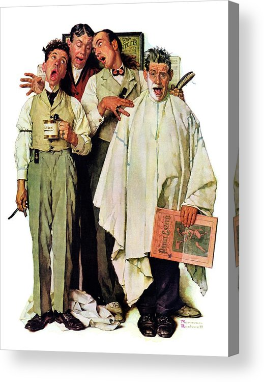 Barbers Acrylic Print featuring the drawing Barbershop Quartet by Norman Rockwell