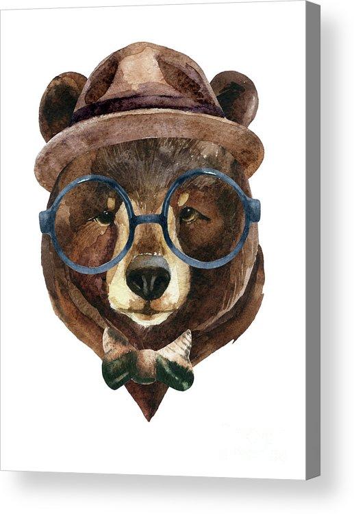 Panda Acrylic Print featuring the digital art Bear Head Watercolor by Tanya Syrytsyna