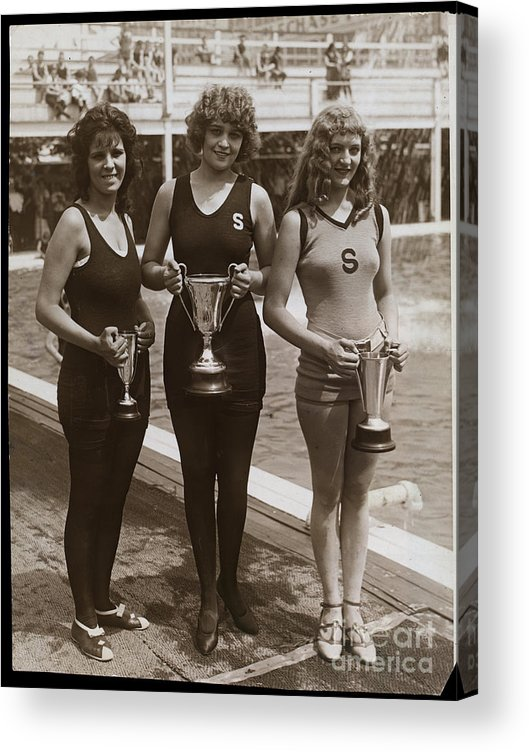 People Acrylic Print featuring the photograph Beauty Contest Winners At Brighton Beach by Bettmann