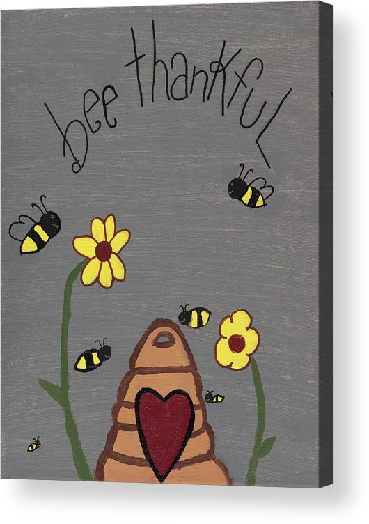 Bee Thankful Acrylic Print featuring the photograph Bee Thankful by Nina Marie