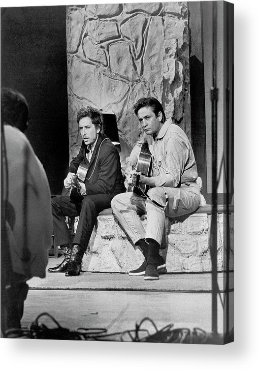 Music Acrylic Print featuring the photograph Bob Dylan & Johnny Cash by Michael Ochs Archives