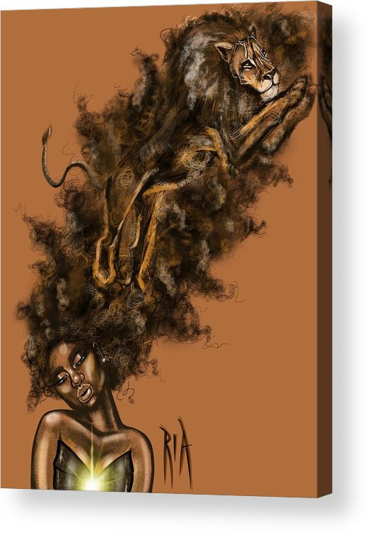 Lion Acrylic Print featuring the painting Courageous Me by Artist RiA