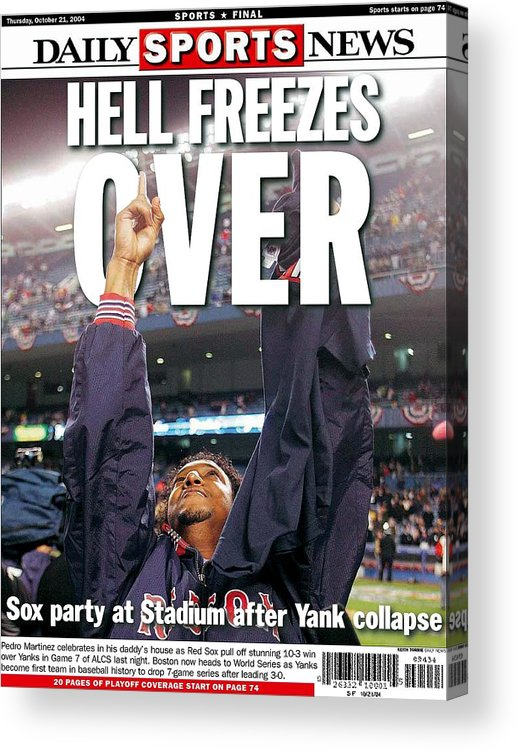 Vertical Acrylic Print featuring the photograph Daily News Backpage Dated Oct. 21 by New York Daily News Archive