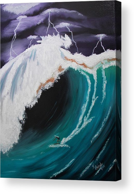 Surfer Acrylic Print featuring the painting Daredevil Surfer by Kathern Ware
