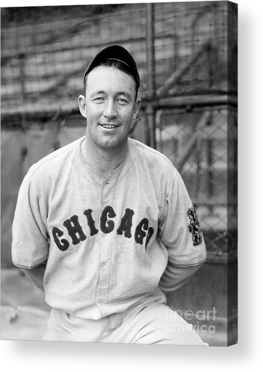 People Acrylic Print featuring the photograph Frankie Frisch Catching Low Ball by Bettmann