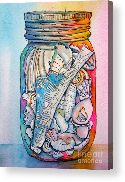 Jar Acrylic Print featuring the painting Jar With W/ Map Ami by Midge Pippel