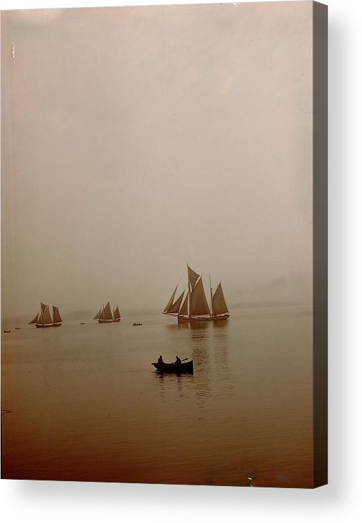 Tranquility Acrylic Print featuring the photograph Ketch-rigged Fishing Boats On Hazy by Eliot Elisofon