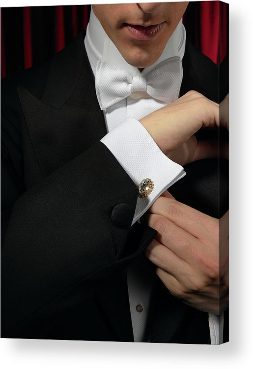Adjusting Acrylic Print featuring the photograph Man Wearing Tuxedo, Adjusting Cufflink by Kelvin Murray