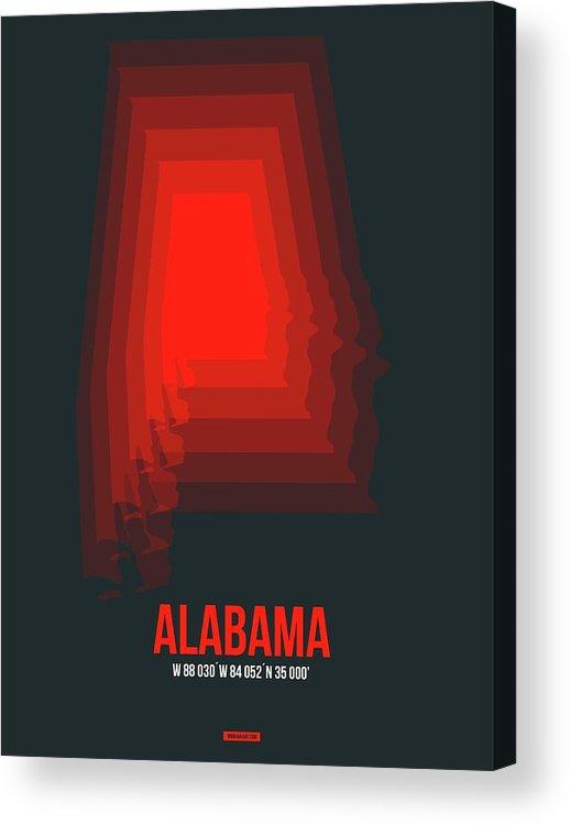 Alabama Acrylic Print featuring the digital art Map of Alabama by Naxart Studio