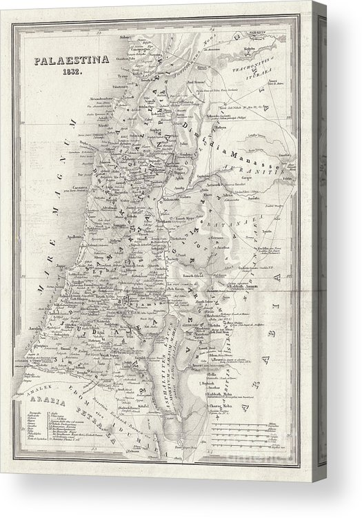 Etching Acrylic Print featuring the digital art Map Of Palestine, Steel Engraving by Zu 09