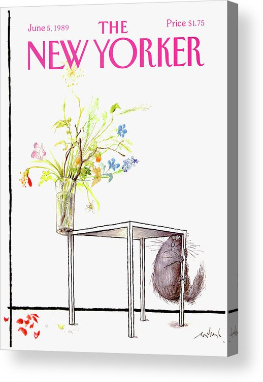 Animal Acrylic Print featuring the drawing New Yorker Cover June 5 1989 by Ronald Searle