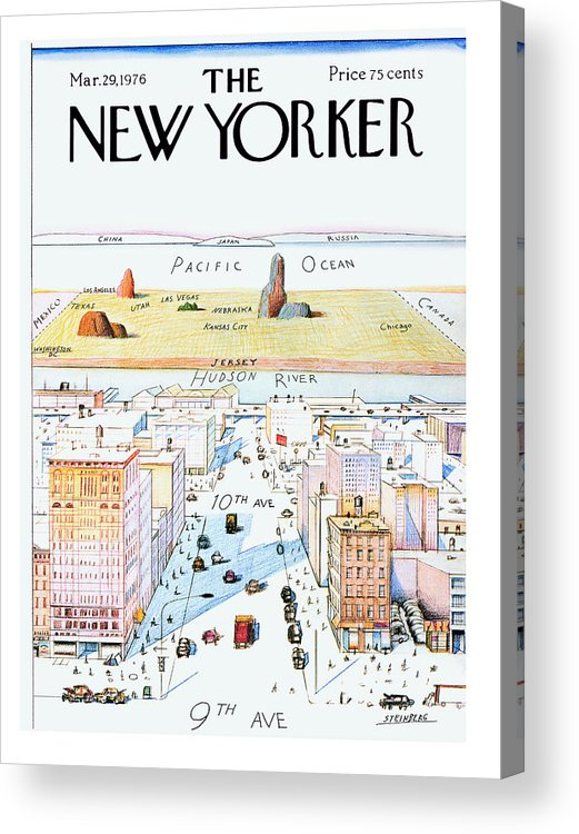 #condenastnewyorkercover Acrylic Print featuring the painting New Yorker March 29, 1976 by Saul Steinberg
