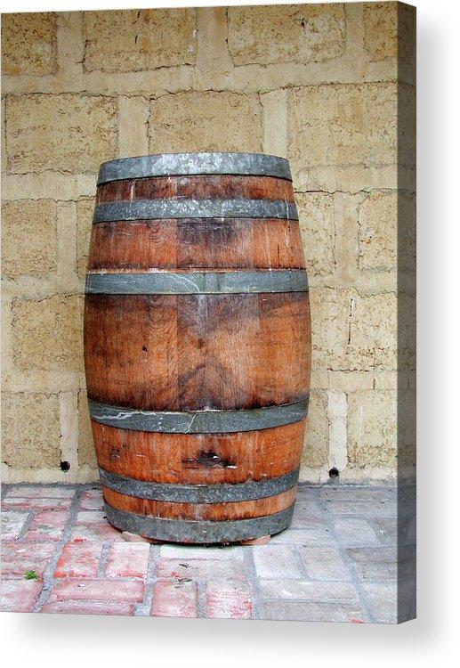 Alcohol Acrylic Print featuring the photograph Oak Wine Barrel by Sassphotos