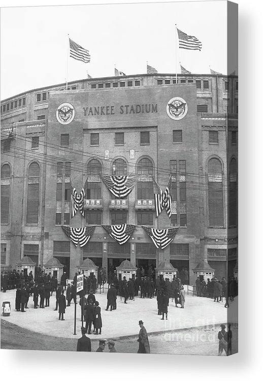 Crowd Of People Acrylic Print featuring the photograph Opening Day For Yankee Stadium In New by Bettmann