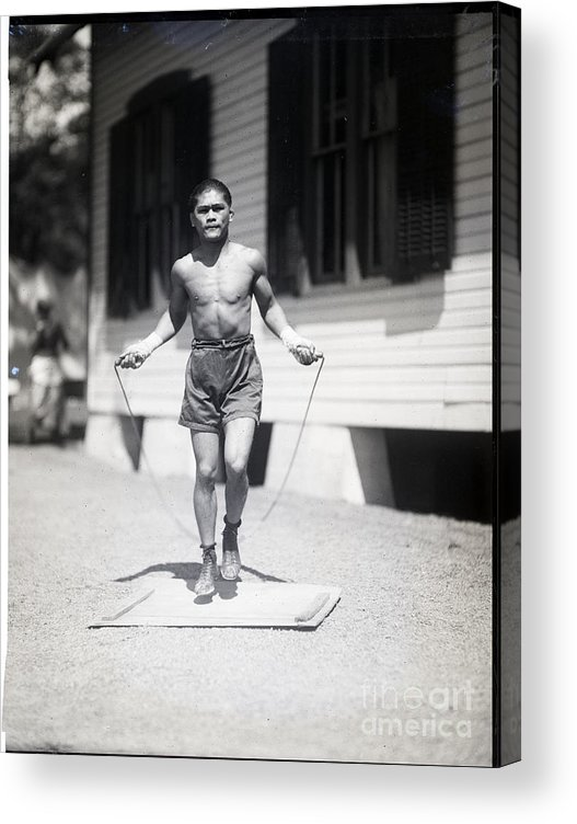 People Acrylic Print featuring the photograph Pancho Villa Jumping Rope, Training by Bettmann