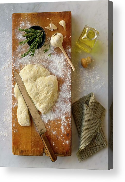 Cutting Board Acrylic Print featuring the photograph Pizza Dough And Ingredients On Cutting by Brian Macdonald