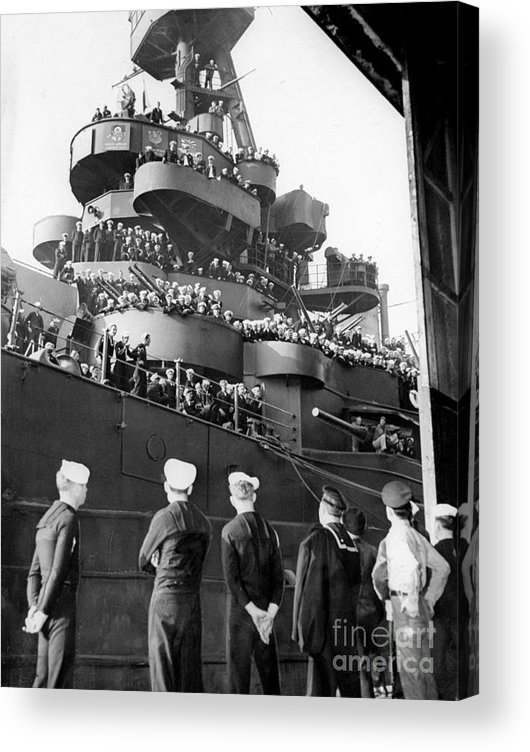 1940-1949 Acrylic Print featuring the photograph Sailors, Anticipating Shore Leave, Line by New York Daily News Archive