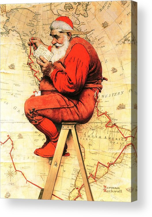 Christmas Acrylic Print featuring the drawing Santa At The Map by Norman Rockwell