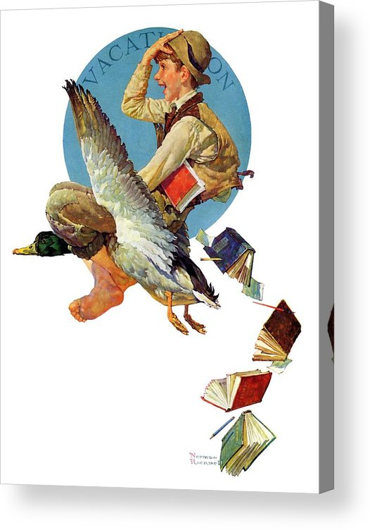 Birds Acrylic Print featuring the drawing summer Vacation, 1934 by Norman Rockwell