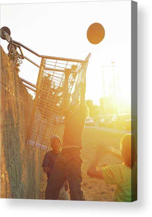 Hanging Acrylic Print featuring the photograph Teenage Boys 13-15 Playing Basketball by Sean Murphy