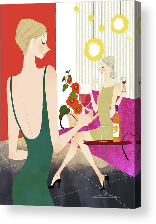 People Acrylic Print featuring the digital art Two Woman Drinking Wine by Eastnine Inc.