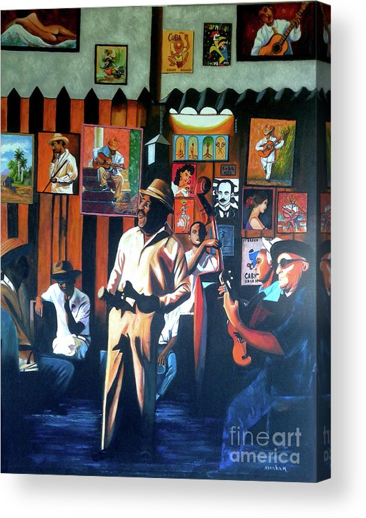 Bar Acrylic Print featuring the painting Uncle Bar by Jose Manuel Abraham