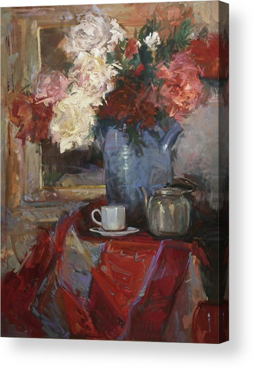 Still Life With Peonies Acrylic Print featuring the painting Garden Peonies by Betty Jean Billups