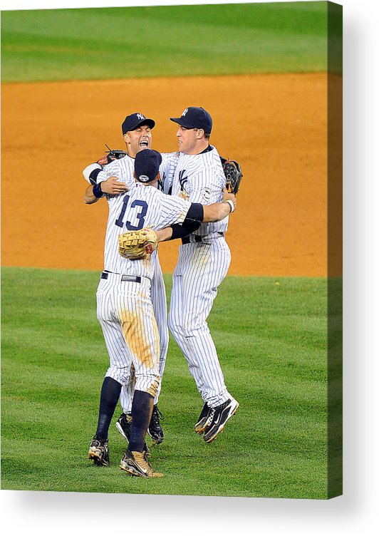American League Baseball Acrylic Print featuring the photograph Alex Rodriguez, Mark Teixeira, and Derek Jeter by New York Daily News Archive