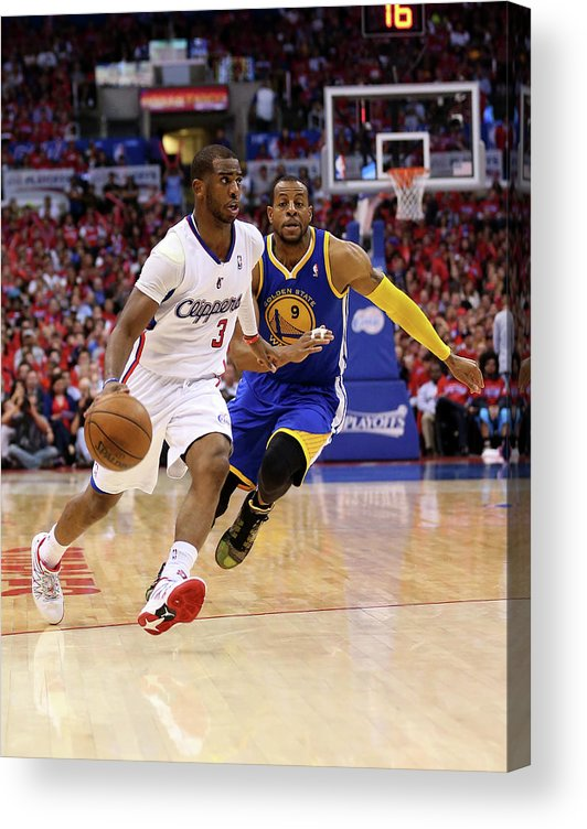 Playoffs Acrylic Print featuring the photograph Andre Iguodala and Chris Paul by Stephen Dunn