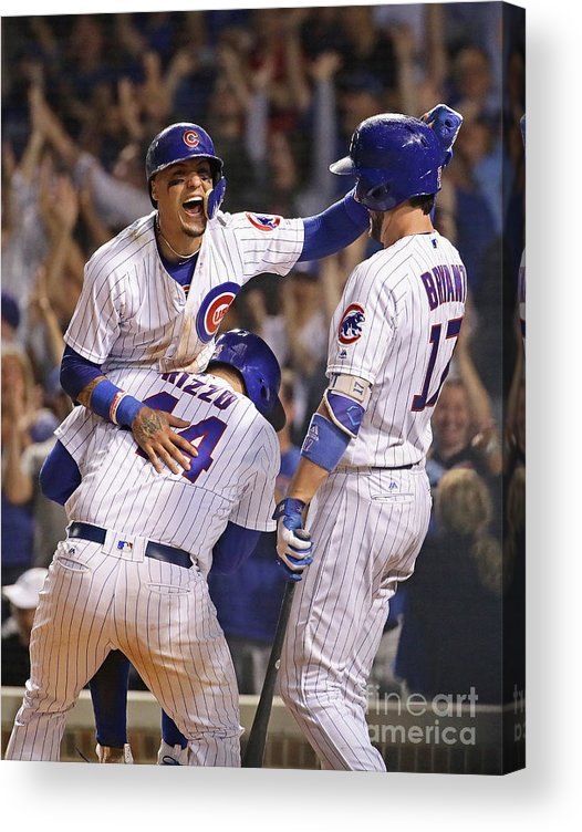 People Acrylic Print featuring the photograph Anthony Rizzo, Kris Bryant, and Javier Baez by Jonathan Daniel