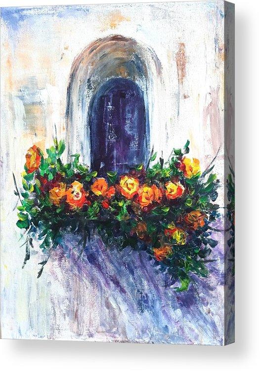 Balcony Flowers Acrylic Print featuring the painting Balcony flowers by Natalja Picugina